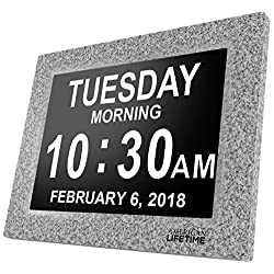 American Lifetime [Newest Version] Day Clock - Extra Large Impaired Vision Digital Clock with Battery Backup & 5 Alarm Options (Grey Marble)