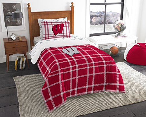 The Northwest Company Officially Licensed NCAA Wisconsin Badgers Soft & Cozy 5-Piece Twin Size Bed in a Bag (Wisconsin Badgers Soft Football)