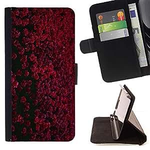 For Samsung Galaxy A3 Case , Rojo granate Negro Flores de campo- la tarjeta de Crédito Slots PU Funda de cuero Monedero caso cubierta de piel