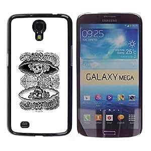 Shell-Star Arte & diseño plástico duro Fundas Cover Cubre Hard Case Cover para Samsung Galaxy Mega 6.3 / I9200 / SGH-i527 ( Nuclear Skull Death Black White Rock )