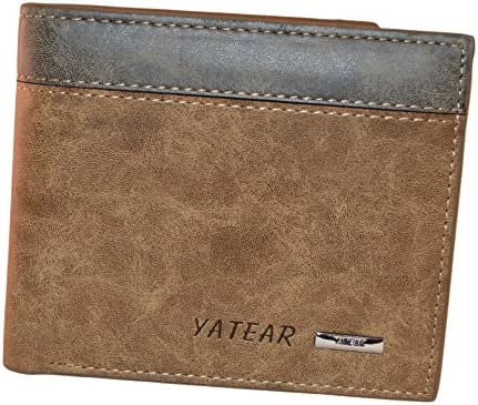 Yateer Man's Casual Dull Polish Leather Bi-fold Wallet with Id/card Holder