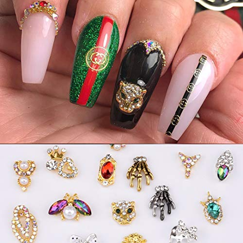30pcs 3D Nail Art Decoration Skull Charm Lepoard Insect Design Jewel with Flower Diamonds -