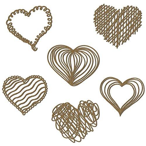 Scribble Hearts Scrapbooking Laser Cut Chipboard - 6 piece set ()