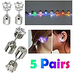 5 Pairs LED Studs Stainless Steel Earrings