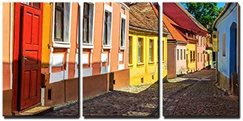 Colorful Houses in Sighisoara Wall Decor x3 Panels