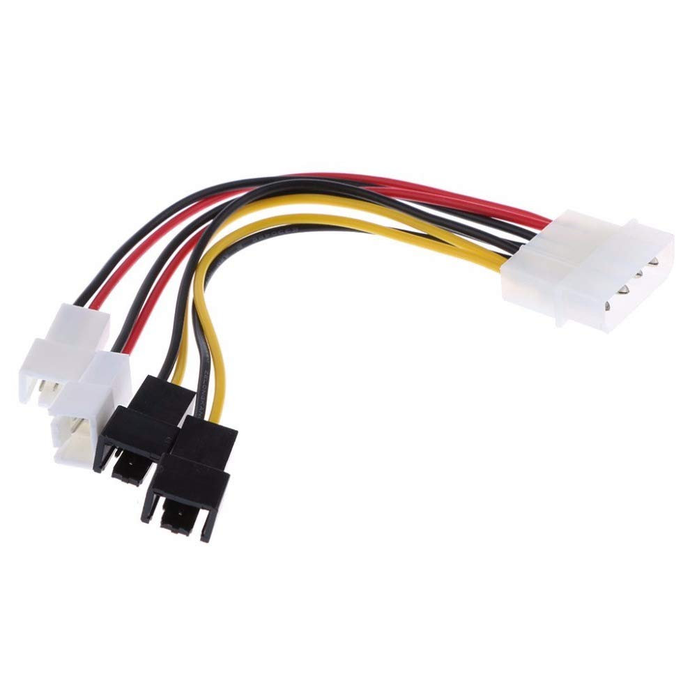 5v2 Computer Cooling Fan Cables for CPU PC Case Fan DP-iot 4-Pin Molex to 3-Pin Fan Power Cable Adapter Connector 12v2