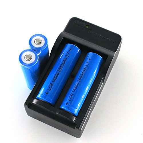 SmartLive Charger with 4 pcs pack 3.7V 14500 2000mah Rechargeable Lithium Battery