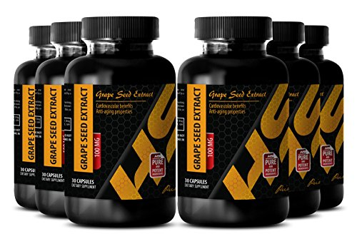 Skin health - PURE GRAPE SEED EXTRACT 100 Mg - Grapeseed extract herbal - 6 Bottles - 180 Capsules by HS PRIME