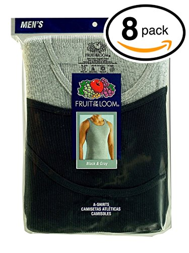 Fruit of the Loom Men's 8Pack Black & Grey A Shirts Tank Tops Undershirts 3XL (Mens Undershirts 3xl Black)