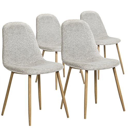 Best Choice Products Set of 4 Fabric Eames Style Dining Side Chairs (Light Gray)