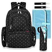 Big Sale - Baby Diaper Bag Waterproof Travel Diaper Backpack with Changing Pad and Stroller Clips (Black Dot)