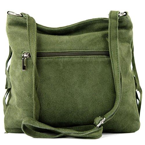 bag real leather T02 shoulder handbag suede Italian Women's Olive bag shopper bag zHWwY