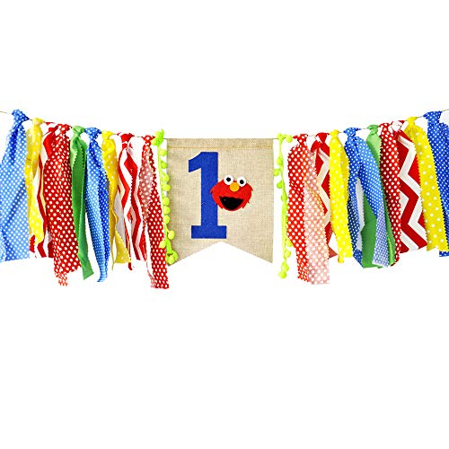 Ecore Fun First Birthday Party Decoration Supply Burlap High Chair Banner Bunting for Baby Boy - Elmo Theme]()