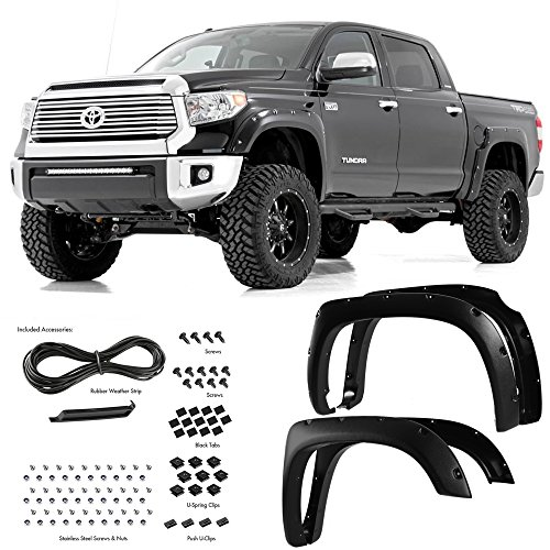 Super Drive For 2014-2016 Toyota Tundra Pocket Riveted Fender Flares Bolt On 4 Pieces Set Black Textured / Smooth Finish (Matte Black) (Fender Tundra 2014 Toyota Flares)