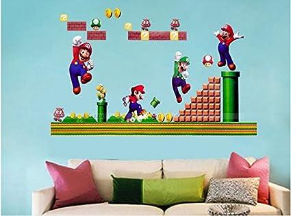 Adesivi Murali Super Mario Bros.Set Collegamento Super Mario Bros Removibile Adesivi Murali