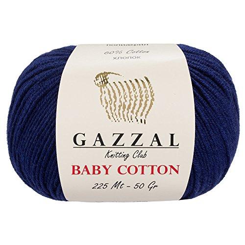 - 5 Skein (Pack) Total 8.8 Oz. Gazzal Baby Cotton Each 1.76 Oz (50g)/150 Yrds (165m) Soft, Fine Baby Yarn, 60% Cotton, Dark Blue - 3438
