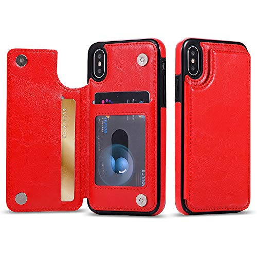 iPhone Xr Flip Book Leather Style Credit Card Wallet Case (Red)