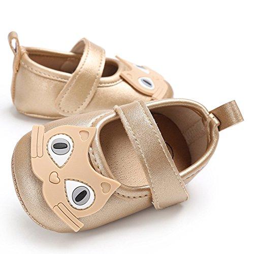 gloryhonor Infant bebé niña niños–Soporte de piel sintética diseño de vestido de gato suave zapatos regalo plateado plata Talla:6-12 meses Golden