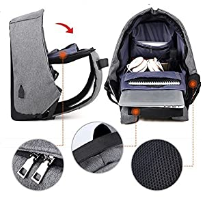 Amarte Water Resistant Laptop Backpack Lightweight Function Travel Daypack with USB, Dark Gray