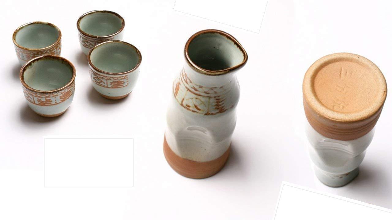 TopNotch Outlet Sake Set - Japanese Sake Set - Traditional Handmade Oracle Bones Stoneware 5 Pc Sake Pot and Cups - Ceramic Sake Set - Sake Flask - Hot Sake