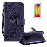 Funyye Strap Leather Cover for Samsung Galaxy S9,Purple Creative Pattern Design Magnetic Flip Folio Soft Silicone PU Leather Protective Case for Samsung Galaxy S9,Stylish Multi functional Folder Wallet with Stand Credit Card Holder Slots Cover for Samsung Galaxy S9 + 1 x Free Screen Protector
