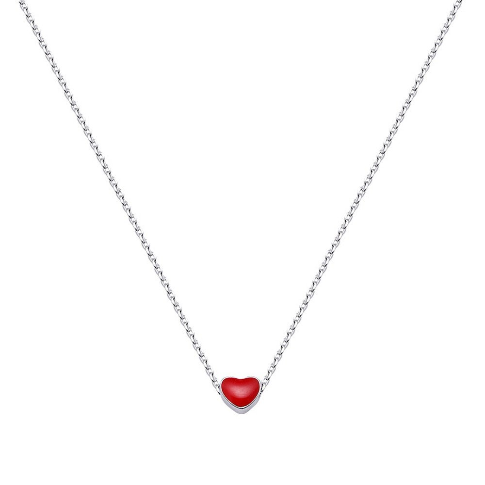 Dana Carrie Woman jewelry Cute Red Love Short Necklace S925 Sterling Silver Clavicle Chain