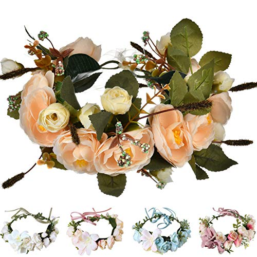 Handmade Adjustable Flower Wreath Headband Halo Floral Crown Garland Headpiece Wedding Festival Party (E-(Champagne))