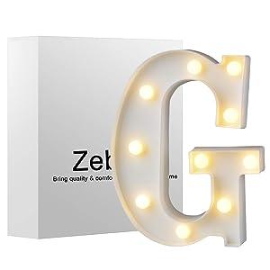 Zebery Led Letters Lights Alphabet Warm White LED Letter Light Up Alphabet Letter Lights for Bachelorette Party Wedding Receptions Holiday Home & Bath Bridal Bar Décor G
