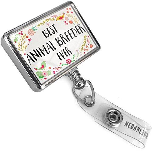 Retractable ID Badge Reel Happy Floral Border Animal Breeder with Bulldog Belt Clip On Holder (Border Animal Hospital)