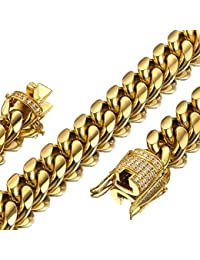 Mens Miami Cuban Link Chain 18K Gold 15mm Stainless Steel Curb Necklace with cz Diamond Chain Choker