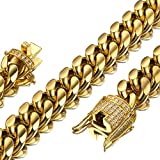 Jxlepe Mens Miami Cuban Link Chain 18K Gold 15mm Stainless Steel Curb Necklace with cz Diamond Chain Choker (24, Necklace): more info