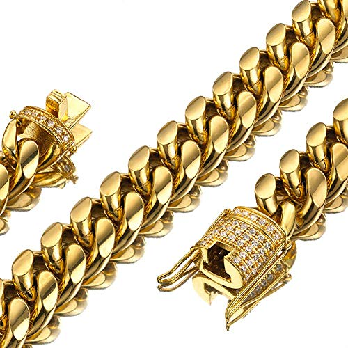 Jxlepe Mens Miami Cuban Link Chain 18K Gold 15mm Stainless Steel Curb Necklace with cz Diamond Chain Choker (30, Necklace)