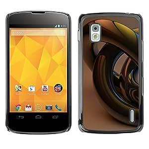 TopCaseStore / la caja del caucho duro de la cubierta de protección de la piel - Gold Bling 3D Art Abstract - LG Google Nexus 4 E960