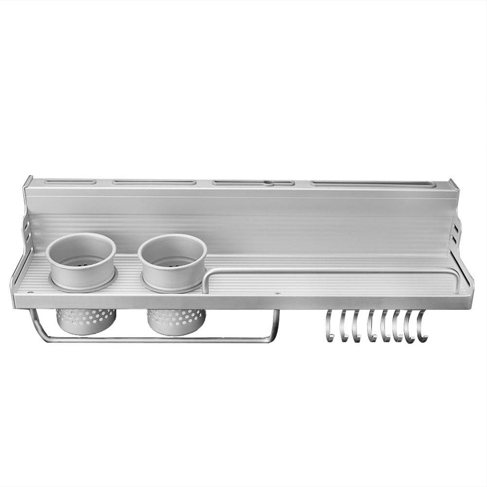 Whitelotous Stainless Steel Knife Pot Pan Spice Rack Kitchen Wall Mounted Storage Organizer with 8 Hooks, 3 Knife Holders(2)