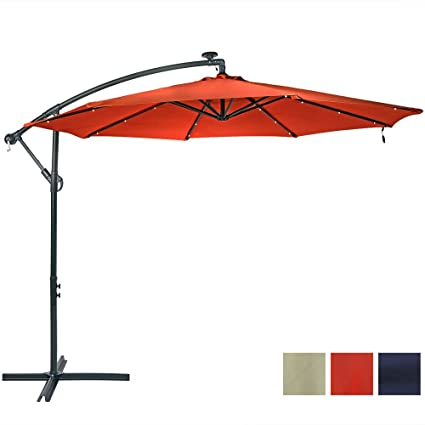 Sunnydaze 10 Foot Solar LED Offset Cantilever Patio Umbrella, Steel With  Crank And Cross