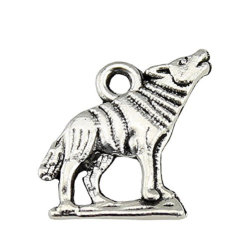 NEWME 80pcs wolf Charms Pendant For DIY Jewelry Wholesale Crafting Bracelet and Necklace Making (antique silver)