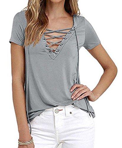 Relipop Women's Fashion Cross Front Tops Deep V-Neck Blouse Casual T-Shirts (Medium, (Deep V-neck Cross)