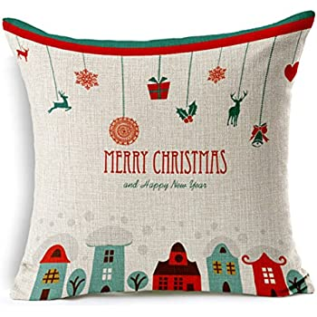 Merry Christmas Gifts to Every Home Cotton Linen Throw Pillow Case Cushion Cover Home Sofa Decorative 18 X 18 Inch ¡­
