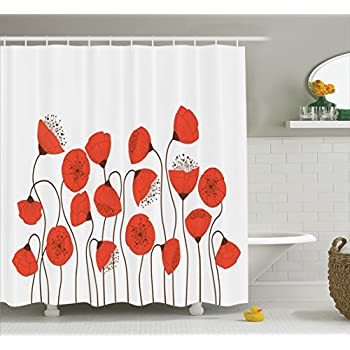 Poppy Decor Shower Curtain Set By Ambesonne Poppy Flowers Blossom Art Deco Style