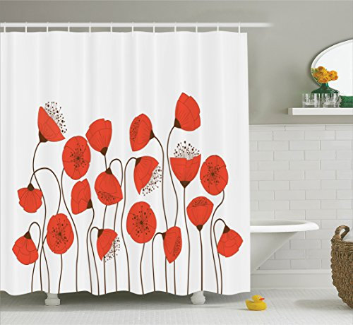 [Poppy Decor Shower Curtain Set By Ambesonne, Poppy Flowers Blossom Art Deco Style Summertime Garden Modern Repetition , Bathroom Accessories, 84 Inches Extralong] (Modern Art Deco)