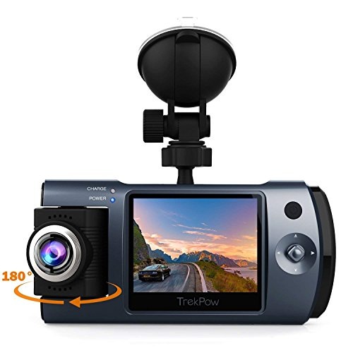 Dash Cam, Trekpow By ABOX HD 1080P Car DVR Dashboard Camera With 180°Rotation for Front And Cabin, 2″ LCD, 170°Wide Len, Night Vision, G-Sensor Lock, Loop Recording, Motion Detection, Parking Mode