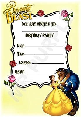 Disney La Bella y la bestia fiesta de cumpleaños invitaciones – vertical diseño de marco – Accesorios de fiesta/accesorios (Pack de 12 invitaciones ...
