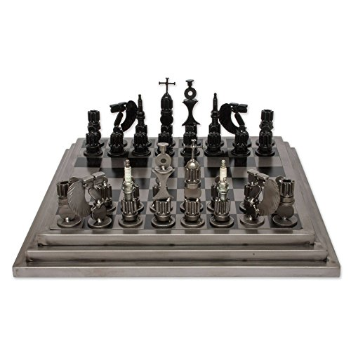 NOVICA Recycled Metal Auto Parts Steel Chess Set, Rustic - Set Stainless Chess Steel