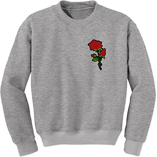 Expression Tees Crew Red Rose Patch (Pocket) Adult Small Heather Grey Beautiful Expressions Roses