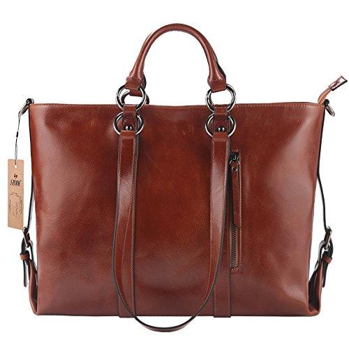"S-ZONE Women's 3-Way Genuine Leather Work Tote Laptop Shoulder Handbag Messenger Bag Fit 14"" Laptop Upgraded Version"