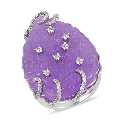 925 Sterling Silver Pear Purple Jade, White Zircon Gift Ring for Women Size 7 (White Zircon Pear)