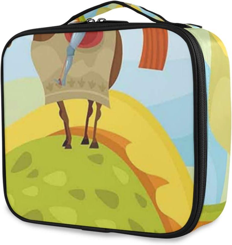 SUGARHE Imagen de Cuento de Hadas Medieval Caballero Don Quijote con Caballo Dragon Valley,Neceser Maquillaje,Bolsa Cosméticos Organizador Brochas Maquillaje Estuches Portátil