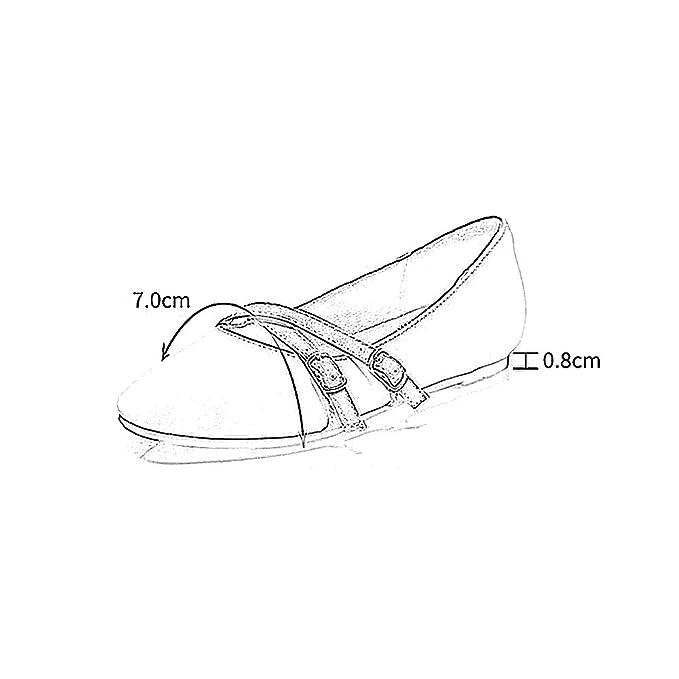 YQQ Zapatos Planos Zapatos De Mujer Sandalias De Verano PU Aldaba Zapatos Perezosos Zapatos De Boca Baja Medio Talón 0.8CM Acogedor (Color : Beige, ...