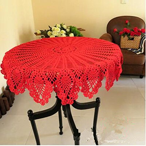 Ustide Red Round Handmade Crochet Pineapple Floral Lace Table Cloth Doily Handcrochet Tablecloth, 31.5 inch