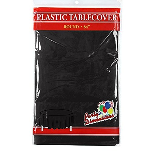 Black Round Plastic Tablecloth - 4 Pack - Premium Quality Disposable Party Table Covers for Parties and Events - 84